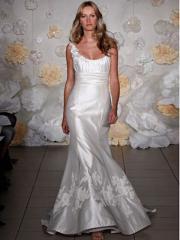 Fantastic Scoop Neckline Satin Wedding Gown of Floral