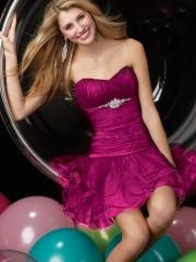Fantastic Short-length Ruffled Bodice Satin Dress with Rhinestones for Cocktail Party