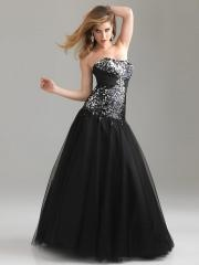 Fantastic Strapless Ball Gown Floor Length Black Tulle and Sequined Quinceanera Gown