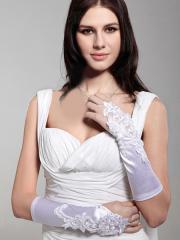 Fingerless Elbow Length Satin Bridal Gloves