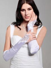 Fingerless Opera Length Satin Bridal Gloves in White