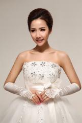 Fingertips Elbow Length White Satin Wedding Gloves