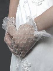Fingertips Short Lace Bridal Gloves