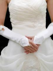 Formal Fingertips Elbow Length Satin Bridal Gloves