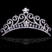Glamorous Alloy Bridal Tiara with Rhinestone and Pearls