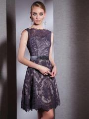 Glamorous Bateau Sleeveless Applique Chiffon Prom Dress with Embellished Neck and Embroidered Belt