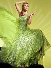 Glamorous Floor-length One-shoulder Sequined Evening Dress