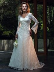 Glamorous Laced Empire Wedding Gown of Long Sleeves