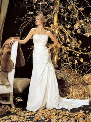 Glamorous Strapless Satin Gown of Beadwork and Ruches