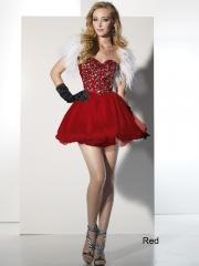 Glamorous Zipper Back Mini-length Cocktail Dress with Rhinestones and Tulle Skirt