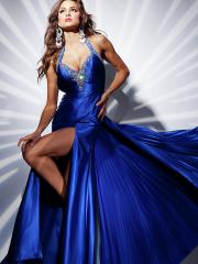Gorgeous Floor-length Halter V-neck A-line Dress with Rhinestones