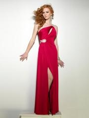 Gorgeous Floor-length One-shoulder A-line Red Evening Dress with Rhinestones