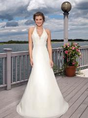 Gorgeous Halter Beaded Empire Gown of Court Train