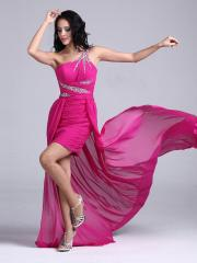 Gorgeous Mini-length One-shoulder Homecoming Dress with Special Train