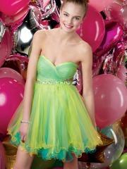 Gorgeous Mini-length Sweetheart Ruffled Bodice Cocktail Dress with Rhinestones Waistline