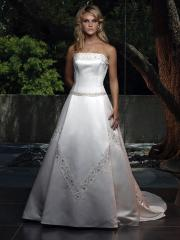 Gorgeous Princess Satin Nuptial Gown of Decorative Embroidery