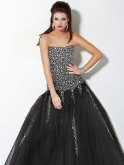 Gorgeous Strapless Black Floor Length Ball Gown Tulle and Diamantes Quinceanera Dress