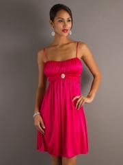 Graceful A-line Style Spaghetti Straps and Empire Waist Short Fuchsia Bridesmaid Dresses