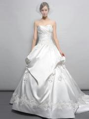 Graceful Floor-length Sweetheart Floral Applique Embroidered Satin Skirt Wedding Dress with Cathedral Train