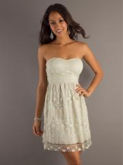 Graceful Lace Form-fitting Strapless A-line Silhouette and Short Length Bridesmaid Dresses