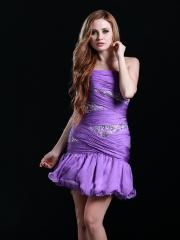 Graceful Mini-length Strapless Homecoming Dress with Rhinestones and Ruffles
