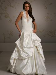 Graceful Pick-Up Satin Wedding Dress of Laced Bodice