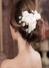 Graceful Wedding Tiara with Crystal and white rose  Pearls