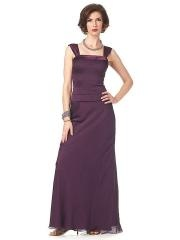 Grape Chiffon Square Neckline Wide Straps A-line Full Length Mother of the Brides Dresses