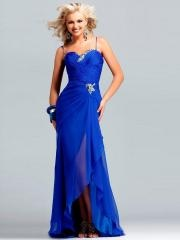 Halter Pleated Empire Evening Dress with Embroidered