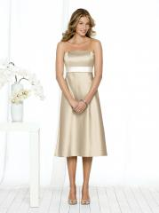 Graceful Strapless Champagne Tea-Length Junior Bridesmaid Gown of White Belt and Bow