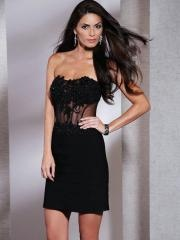Hot Sales Fabulous Short-length Strapless Embroidered Lace-up Black Sheath Prom Dress