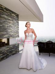 Hot Seller Strapless Appliqued Satin Gown for Wedding