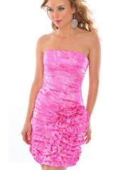 Hot Seller Strapless Short Sheath Watermelon Silky Satin Rosette Bridesmaid Dress