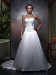 Incomparable Strapless Duchess Satin Gown of Embroidery and Chapel Train