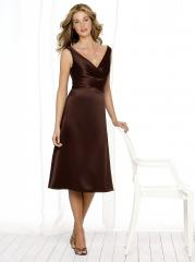 Inimitable Portrait Neck Brown Silky Satin Short Tea-Length Junior Bridesmaid Gown on Sale