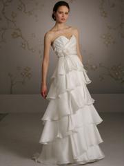 Inverted Barrel Shaped Wedding Dress of Tiered Skirt
