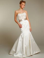 Ivory Mermaid Strapless Bodice with Floral Embroidery Satin Wedding Dress