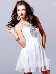 Keyhole Neck Rhinestone Embellished White Smooth Chiffon Short Length Bridesmaid Dresses