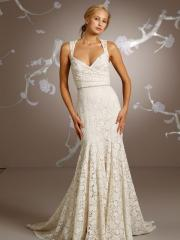 Lace Sheath Wedding Gown of Shoulder Strap