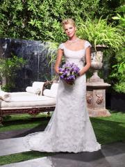 Laced Queen Anne Neckline Bridal Gown