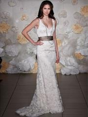 Laced Scoop Neckline Sheath Wedding Dress of Sash