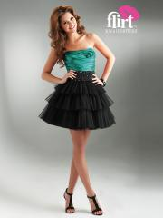 Lovable Strapless A-Line Hunter Satin Bodice and Tiered Tulle Skirt Bridesmaid Dress