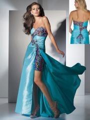 Luxurious Floor-length Sweetheart Leopard Floral Ruffled Taffeta Prom Dress for Nice Taste