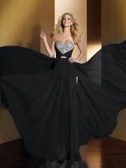 Magnificent Floor-length Fit and Flare Prom Dress with Sweetheart Sequined Bodice and Chiffon Skirt