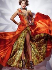 Magnificent Floor-length One-shoulder Leopard Inner Skirt Prom/Evening Dress