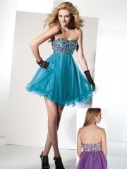 Magnificent Short-length Rhinestone Bodice Empire Waistline Tulle Skirt Cocktail Dress