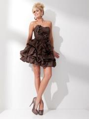 Magnificent Strapless Mini Ball Gown Chocolate Caught-Up Taffeta Floral Bridesmaid Dress