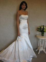 Magnificent Strapless Satin Gown of Fish Tail