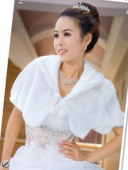 Marvelous Faux Fur Wedding Shrug with Fuzzy Ball Wedding Wraps