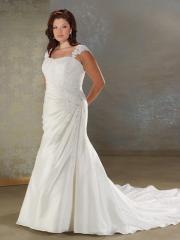 Mermaid Scoop Neckline Beading Plus Size Wedding Dress